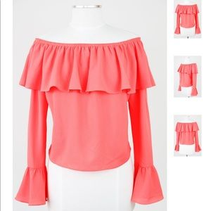 Coral Off the Shoulder Top from Impeccable Pig
